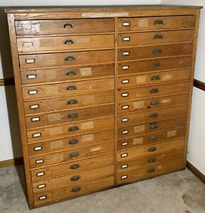 Antique Topo Topographical Map 26 Drawer Unit Cabinet Very Neat