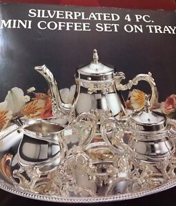 Silver Plated Mini Coffee Tea Set 4 Pc New Other In Original Box