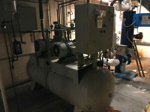 Woodine Production Co Industrial Sized Air Compressor Horizontal