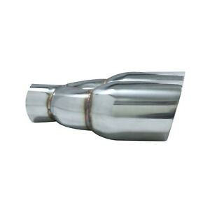Universal Stainless Tip Muffler Delete Exhaust 2 5 Inlet 3 5 Dual Outlet