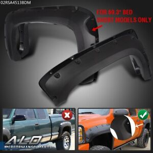 Textured For 2007 2013 Silverado 1500 69 Short Bed Fender Flares Pocket Style
