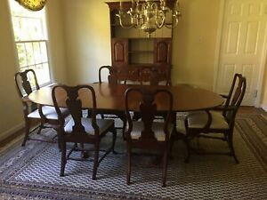 Vintage Solid Warm Cherry Double Pedestal Handcrafted Dining Table W 1 Leaf Evc
