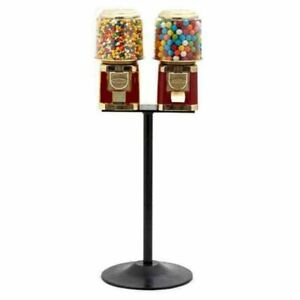 2 Classic Gumball Vending Machines On Cast Iron Stand