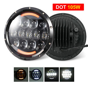 7 Inch Round Led Headlight Halo Angle Eyes For Jeep Wrangler Jk Lj Tj 1997 2017
