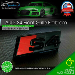 Audi S4 Front Grill Emblem Gloss Black For A4 S4 B8 B9 Hood Grille Badge