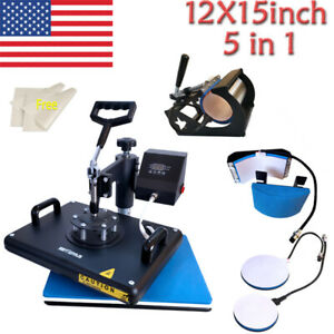 Combo 5 In1 Heat Press Machine 12x15in Swing Away For T shirt Mug Cup Hat Plate
