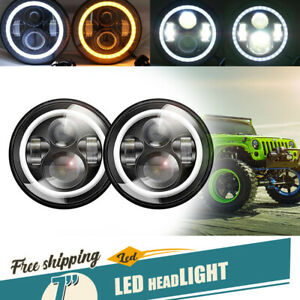 7 Halo Projector Headlights Hi lo Beam Drl Light Fit 92 2001 Am General Hummer