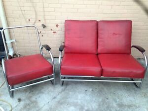 Two Piece Vtg Mid Century Royal Metal Chair Co Loveseat Club Chair