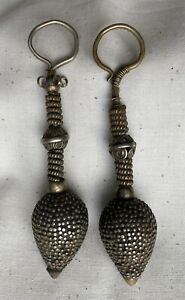 Antique Indian Rabari Rajasthan Gujarat Nagali Silver Earrings Tribal 19th C