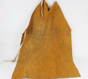 Vintage Welding Apron Leather Suede Oki Comfort Line Distressed Full Length Bib
