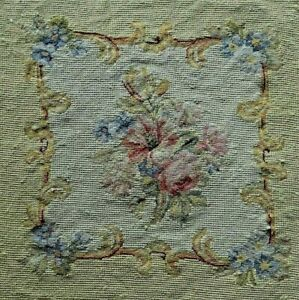 Antique Victorian Art Unframed Needlepoint Canvas Tapestry Flowers