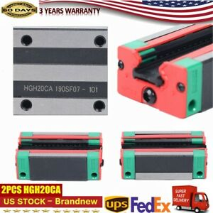 2pcs Hgh20ca Rail Block Carriage Slider Fit Linear Rail Guide Cnc Replacement
