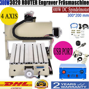 Usb 4 Axis Engraver Machine Cnc 3020 Router Cutter 300w Drill 3d Carving Cutter