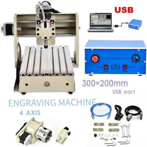 Usb 4 Axis 300w 3020 Cnc Router Engraver Machine Drill Artwork Carving Cutter