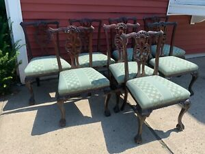 Antique Chippendale Set Of 8 Heavily Carved Mahogany Ball Claw Dining Chairs