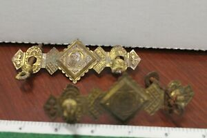 J5 Pair Of Antique Victorian Figural Face Handle Brass Backplate Drawer Pulls