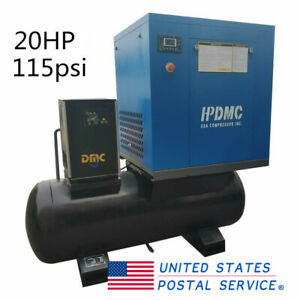 20hp Rotary Screw Air Compressor 3 phase 230v 60hz W air Dryer 120 Gallon Tank