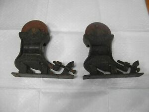 Vtg Barn Door Pocket Rollers Architectural Hardware Pair Top Mount Rollers