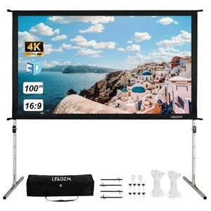 Portable 100 Stand Projection Projector Screen 4k Fast Fold With Carry Bag