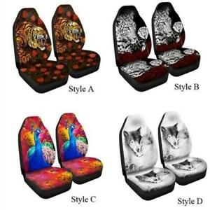 Breathable Car Front Seat Cover Protector Set Tiger Leopard Polyester Universal