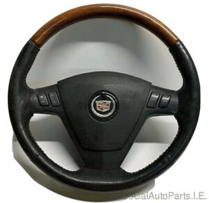 03 07 Cadillac Cts Leather Wood Grain Steering Wheel Ebony Controls W Airbag