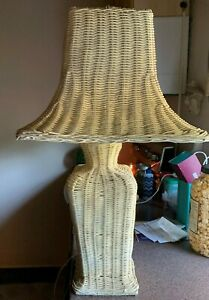 Wicker Lamp And Shade Cream White Color 28 Inches Tall Vintage