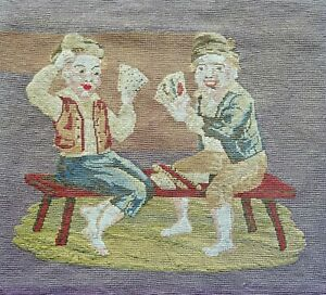 Antique Unframed Victorian Art Needlepoint Canvas Tapestry Boys Playing Cards