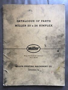 1948 Parts Catalog Miller Printing Press 20x26 Industrial Offset Letterpress