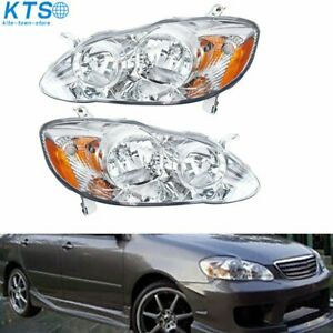 Clear Replacement Head Lamps Headlights Left Right For 2003 2008 Toyota Corolla