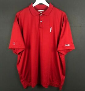 Antigua Coca Cola Bottle Red Striped Short Sleeve Rugby Golf Polo Shirt Mens XL