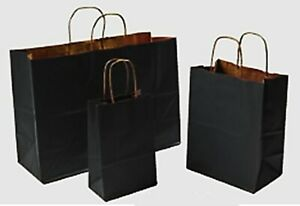 Mixed Pack 3 Sizes Black Paper Retail Gift Rope Handle Tote Shopping Bags
