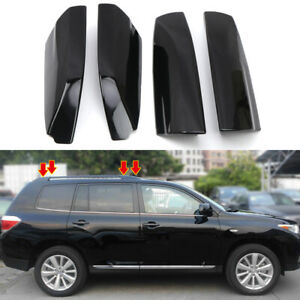 Black Roof Rack Bar End Cover Shell Replace 4pcs For Toyota Highlander 2008 2013
