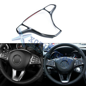 Carbon Fiber Style Steering Wheel Panel Cover Trim Decal For Benz C class W205