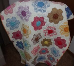 Grandmother S Flower Garden Quilted Cover Blanket 42 X 30 Vintage Clean