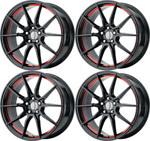 20x10 Pr193 Fit Mustang 5x114 3 40 Gloss Black Red Machined Wheels Set 4