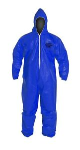 Dupont Tychem Cpf1 Blue Coverall Attached Hood Protective Suit