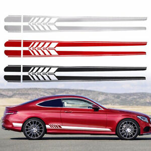 2x Auto Car Graphics Side Body Sticker Long Racing Stripe Vinyl Decals Decor Diy