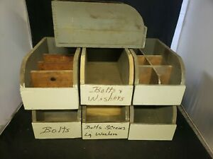 Vtg Antique Primitive Wood Barn Hardware Parts Box Rustic Farm Dovetail Nh 1