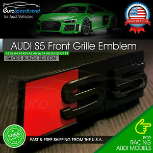 Audi S5 Front Grill Emblem Gloss Black For A5 S5 Hood Grille Badge Nameplate