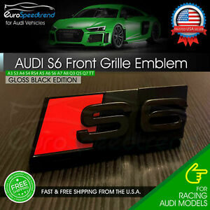 Audi S6 Front Grill Emblem Gloss Black For A6 S6 Hood Grille Badge Nameplate