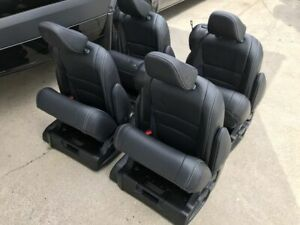 Set Of 4 Black Leather Reclining Captain Seats W Built In Seatbelt Rv Bus