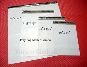 40 Poly Bag Mailer Variety Pack 4 Medium To Large Sizes Shipping Envelopes