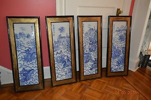 Rare Chinese Porcelain Panel Set With Wooden Frame 3 Kingdoms Blue White
