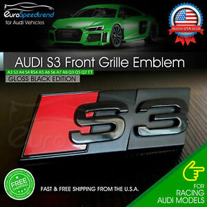 Audi S3 Front Grill Emblem Gloss Black For A3 S3 Hood Grille Badge Nameplate