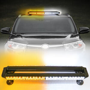 54led Emergency Traffic Advisor Double Side Warning Strobe Light Bar Amber White
