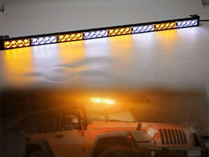 36 Inch Led White Amber Light Emergency Warning Strobe Flash Yellow Bar Hazard