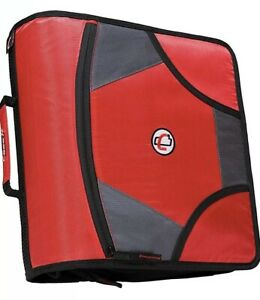 Case It 3 The Mighty Red Zip Tab Zipper Binder Dividers Shoulder Strap