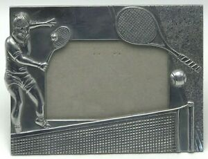 Vintage Metal Picture Photo Frame Playing Tennis Player