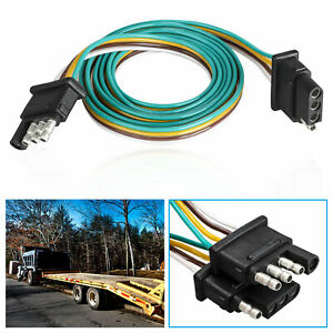 4 Pin Plug Trailer Light Wiring Harness Extension Flat Wire Connector 4ft 18awg