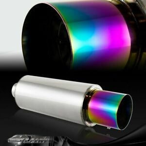 N1 4 Rainbow Burnt Tip T 304 Stainless Steel Exhaust Muffler With 3 Inlet Jdm